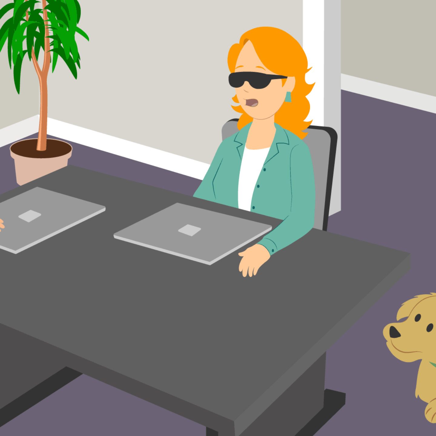Illustration of blind woman with service dog and another person in work setting.