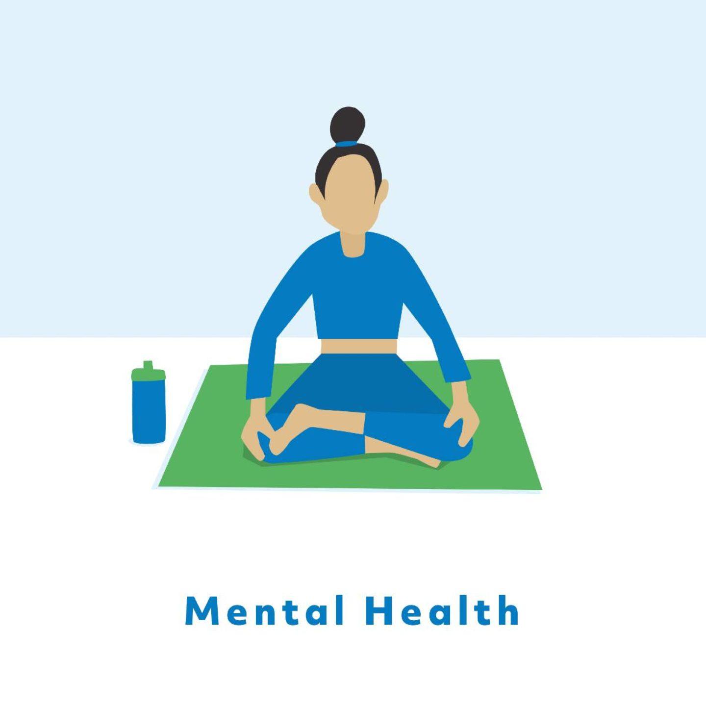 Mental Health: Woman sitting and meditating on a yoga mat