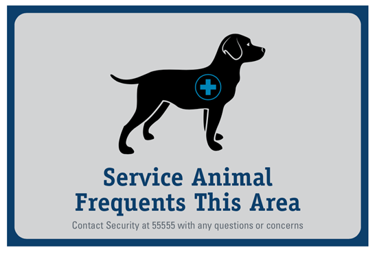 12x8 inch wall sign picturing a service animal and text reading